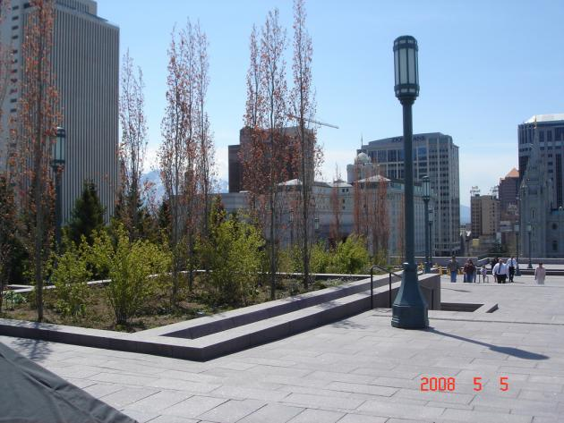 Trees and shrubs growing on roof top terraces of the LDS Assembly Hall and Conference Center in Salt Lake City, Utah